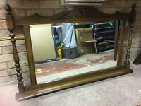 Huge wooden wall/fire place mirror