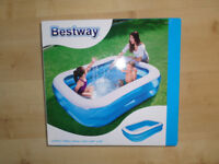BESTWAY HEAVY DUTY INFLATABLE RECTANGLE POOL 6'6 450L WATER CAPACITY BOXED