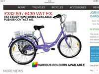 "Jorvik 24"" Purple Folding Tricycle"