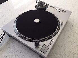 Technics SL-1200 MK2 Turntable With Custom Matte Silver Cover & Matching 45