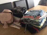 HUGE BUNDLE OF WOMENS CLOTHES Size 10-12, also handbag, fashion jewellery