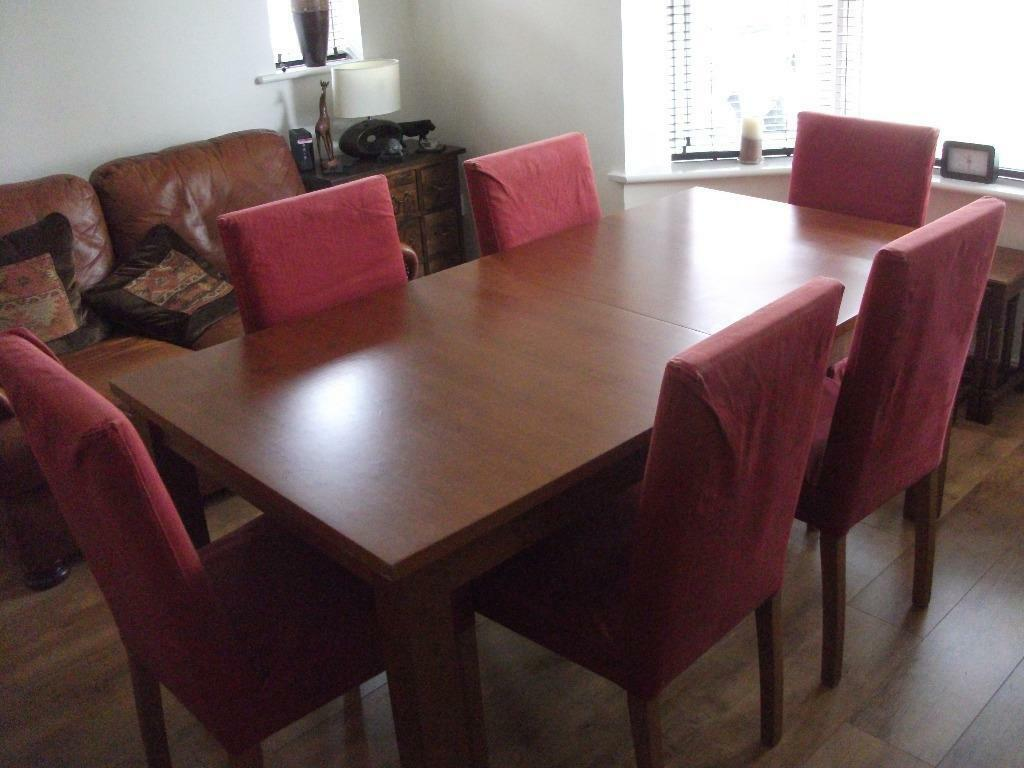 Habitat cherry oak extending dining room table and 6 for Dining room tables on gumtree