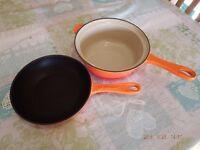Le Creuset Volcanic Orange Cast Iron Pans