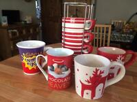 Assortment of Mugs x7 Including 3 in a Tower Holder from M&S - £4 for the lot
