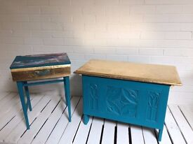 Blue and gold coffer / blanket chest/ storage box/ blanket box/ ottoman