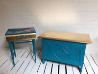 Blue and gold coffer / blanket chest/ storage box/ blanket box/ ottoman