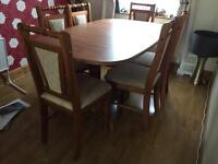 Pine extending table and 6 chairs