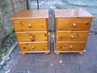 Pine Bedside cabinets-PAIR- in VGC