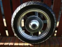 MOTORCYCLE TYRES AS NEW MOUNTED ON CRUISER WHEELS EXCELLENT CONDITION