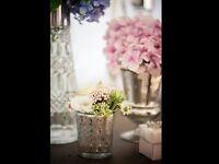 Lot of 9 Mercury silver urn vases for weddings