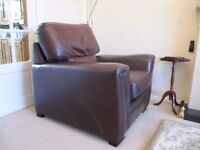 Free Brown leather couch and armchair. good condition. Cannot deliver