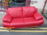 3+2+1 suite in red leather used vgc