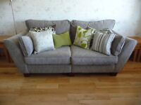 ASHLEY MANOR 3-seater split sofa in Luna Plain (mid brown) grade A fabric with dark wood feet