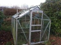Green house frame (some glass intact if you want it) 8ft l x 6ft w x 6ft h (bigger than I thought!)