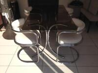 Dining table and 4 chairs 60's 70's mid century smoke glass faux leather white