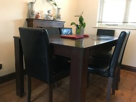Dark Brown Oak Effect Wooden Dining Table and 6 High Back Chair Set