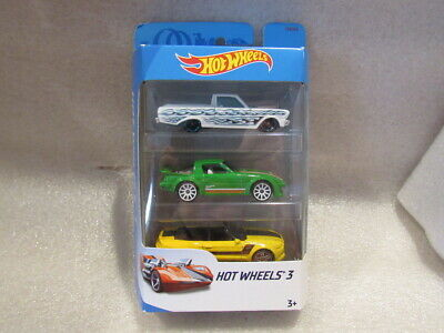 HOT WHEELS 3-PACK WITH HARD TO FIND GREEN MAZDA RX-7 - FORD RANCHERO & MUSTANG