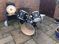 Beginner Drum Kit + Cymbals + Soundproof Pads + Travel Bags