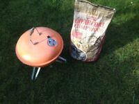 Orange Portable Kettle Picnic Barbecue with 5 kg bag of Charcoal