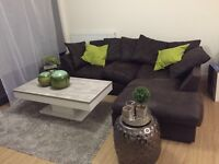 Brown faux leather left hand corner sofa
