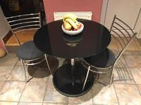Round Glass Dining Table & 2 Chairs
