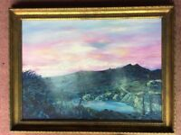 PAINTING IN OIL MERLINS MOUNTAIN ROUGHTER