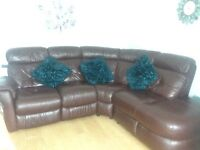 Leather chocolate DFS corner suite recliner 4yrs old great condition and very comfy.