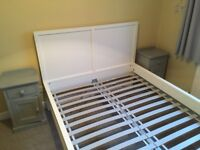 White wooden double bed frame + pair of solid wood painted grey bedside tables