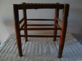 ANTIQUE VICTORIAN CORD STOOL AND RUSTIC WOODEN FOOT STOOL
