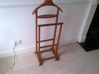 beautiful vintage Italian solid wood butler or valet stand on castors in very good condition