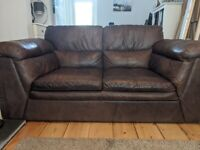 Brown leather sofas (1 for sale, 1 free)