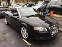 AUDI A4 CONVERTIBLE S LINE 1.8 TURBO AUTOMATIC BLACK 2006 FULL LEATHER SERVICE HISTORY SEATS 2 KEYS