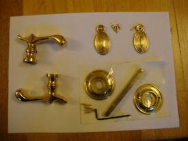 Solid brass lever door handle set, Georgian style