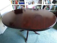 Repro dark solid wood dining table and chairs