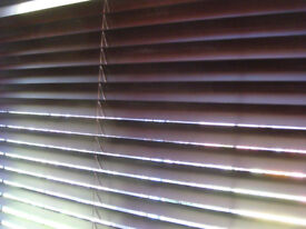 Brown wooden Venetian blinds