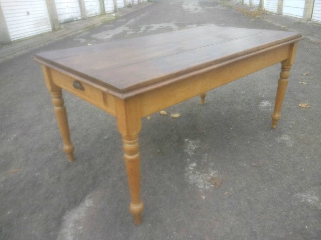 Antique Pine Dining Table (2 drawers)