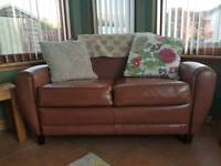 Compact leather sofa 2 seater