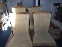 Hard wood& wicker dining chairs