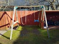 Children's double wooden swing