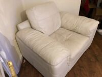 Cream leather corner sofa and chair