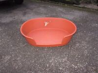 PLASTIC DOG BASKET. USED IN GOOD CONDITION. CROMFORD OR NOTTINGHAM