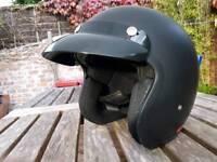 Matt black open face helmet