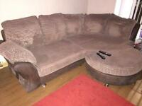 Brown Sofa and Large Cuddle Chair
