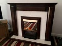 Brown electric fireplace