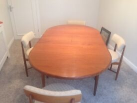 G PLAN DINING TABLE AND CHAIRS. USED IN SHOW HOUSE DISPLAY