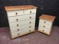 Pair of solid pine bedroom chests