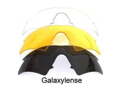 Galaxy Ersatzgläser für Oakley M-GESTELL Wechsel Schwarz/Gelb/Klar Sonnebrille