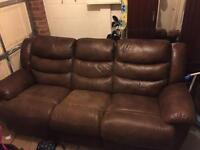 3 seat brown leather recliner sofa