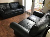NEW NEXT BLK REAL LEATHER 2 X 2 SOFAS CAN DELIVER FREE