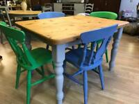 Farmhouse dining room table and chairs